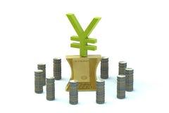 Japońskiego jenu znak na spłaszczającym złocistym ingot Obraz Royalty Free