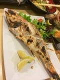 Japońskiego stylu piec na grillu cała ryba Obraz Royalty Free
