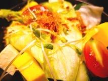 Japońskiego stylu sałatka Składniki są białym tofu, sałata, obrazy stock