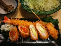 Japońskiego tonkatsu ustalony posiłek Obrazy Royalty Free