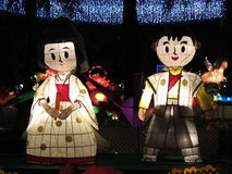 Japońskiej pary Chiński lampion - W połowie jesień festiwal Obrazy Royalty Free