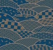 Japońscy tradycyjni wzory i chryzantema Zdjęcia Royalty Free