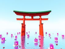 Japońska brama w wodzie z lampionami Fotografia Stock