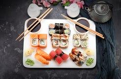 Japońska kuchnia azjatykci jedzenie Suszi Obrazy Royalty Free