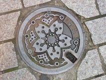 Japońska Manhole pokrywa Fotografia Royalty Free