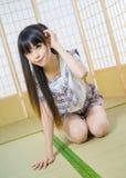 Japońska studencka dziewczyny dama w tatami izbowym azjatykcim anime Obrazy Royalty Free