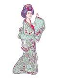 Japońska tradycyjna lali ningyo ilustracja Zdjęcia Stock