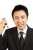 Japoński biznesmen otrzymywa skargi wezwanie Zdjęcia Stock