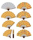 Japoński fan bambusa set Obrazy Stock