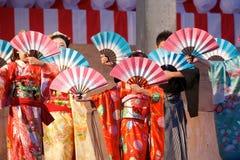 Japoński fan taniec Zdjęcia Stock