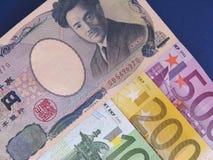 Japoński jen versus euro Obraz Royalty Free