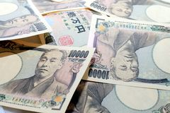 10000 Japoński jen waluta rachunki japan pieniądze obraz stock