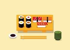 Japoński karmowy suszi Zdjęcia Royalty Free