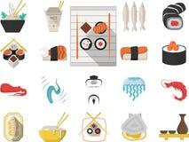 Japońskie owoce morza menu mieszkania ikony Obrazy Stock
