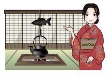 Japońskiego stylu pensjonatów wizerunek ilustracja wektor