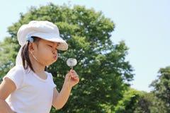 Japońskiej dziewczyny dandelion podmuchowi ziarna pod niebieskim niebem Obraz Royalty Free