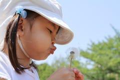 Japońskiej dziewczyny dandelion podmuchowi ziarna pod niebieskim niebem Zdjęcie Royalty Free