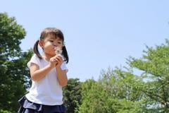 Japońskiej dziewczyny dandelion podmuchowi ziarna pod niebieskim niebem Fotografia Royalty Free