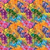 Japońskiej fan krzywy sowy bezszwowy wzór Zdjęcie Royalty Free