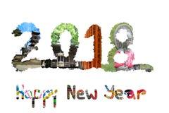 Japonés colorido que viaja - Feliz Año Nuevo 2018 Fotografía de archivo