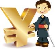 Japonés con un símbolo de los Yenes Imágenes de archivo libres de regalías