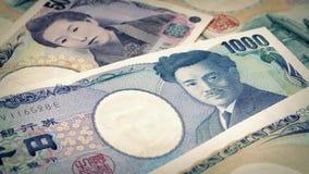 Japonés Yen Banknotes Rotating almacen de metraje de vídeo