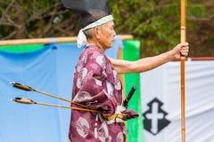 Japonês Archer com curva e setas Foto de Stock Royalty Free