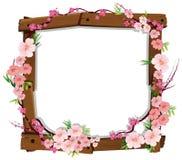 Japonês cor-de-rosa asiático Sakura no quadro de madeira ilustração do vetor