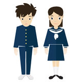 Japonês-highschool-uniforme-com-modelo-homem-mulheres foto de stock royalty free