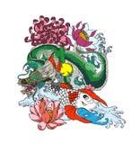 Japonês Koi e dragão Entregue a menina de gueixa e o gatinho tirados no fundo da onda dragão velho com ameixa ilustração stock