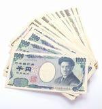 Japonês nota de 1000 bancos dos ienes Fotografia de Stock