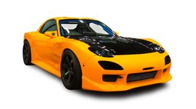 Japonês novo carro de esportes amarelo ajustado Fundo branco fotografia de stock