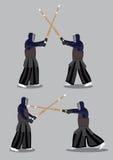 Japonais Kendo Martial Arts Attack et défense Photographie stock libre de droits