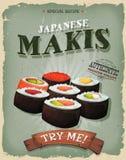 Japonais Makis Poster de grunge et de vintage Photos libres de droits