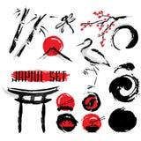 Japonais Sumie Ink Painting Icons Set illustration libre de droits