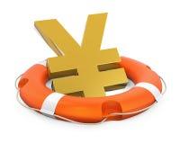 Japonais Yen Sign dans la bouée de sauvetage d'isolement Image stock