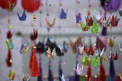 Japonese origamis. Japanese colored paper origami in the park of Buenos Aires Stock Photo