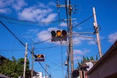 Japonia światła ruchu w kolorze żółtym Zdjęcie Stock