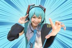 Japonia anime cosplay, kreskówek kobiety Zdjęcie Stock