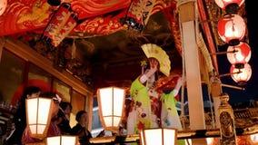 Japonia Chichibu festiwalu tradycyjny tancerz na pławiku zbiory wideo
