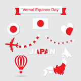 Japonia chorągwiany i map ikony ustawiać ilustracji