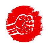 Japonia czerwonej flaga słońce zaciskał walka mieszającą sztuki samoobrony karate podnoszącą pięść ilustracja wektor