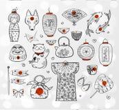 Japonia doodle nakreślenia elementy na białym rozjarzonym tle Fotografia Royalty Free