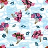 Japonia fan kwiatu stylu kwadrata bezszwowy wzór Fotografia Stock