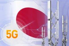 Japonia 5G przemysłowa ilustracja, ogromny komórkowy sieć maszt lub wierza na nowożytnym tle z flagą, - 3D ilustracja ilustracja wektor