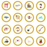 Japonia ikony okrąg ilustracja wektor