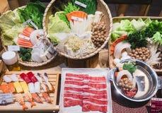 Japonia Karmowego pokazu Sukiyaki Japońskiej restauraci ustalony menu Zdjęcia Royalty Free