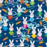 Japonia królika marchewki chmury Kimonowego czereśniowego stylu bezszwowy wzór ilustracja wektor