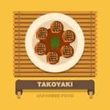 Japonia krajowi naczynia, Takoyaki ośmiornicy piłka - Wektorowy mieszkanie Zdjęcia Stock