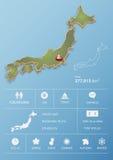Japonia mapa i podróży Infographic szablonu projekt Obrazy Royalty Free
